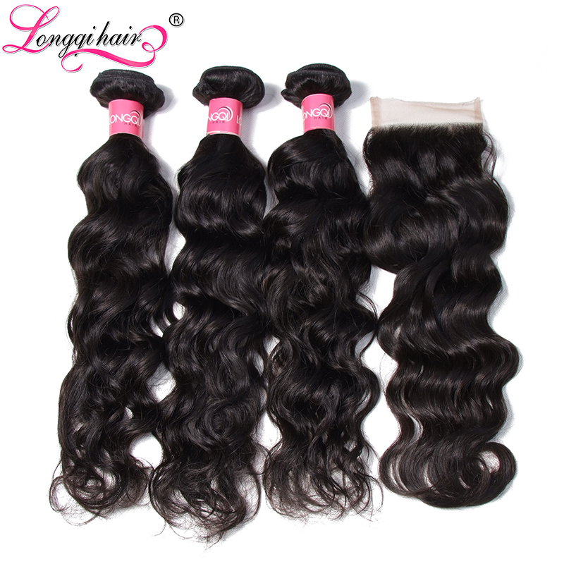 Longqi Brazilian Water Wave Bundles with Closure Remy Human Hair 3 Bundles with Closure 4x4 Lace