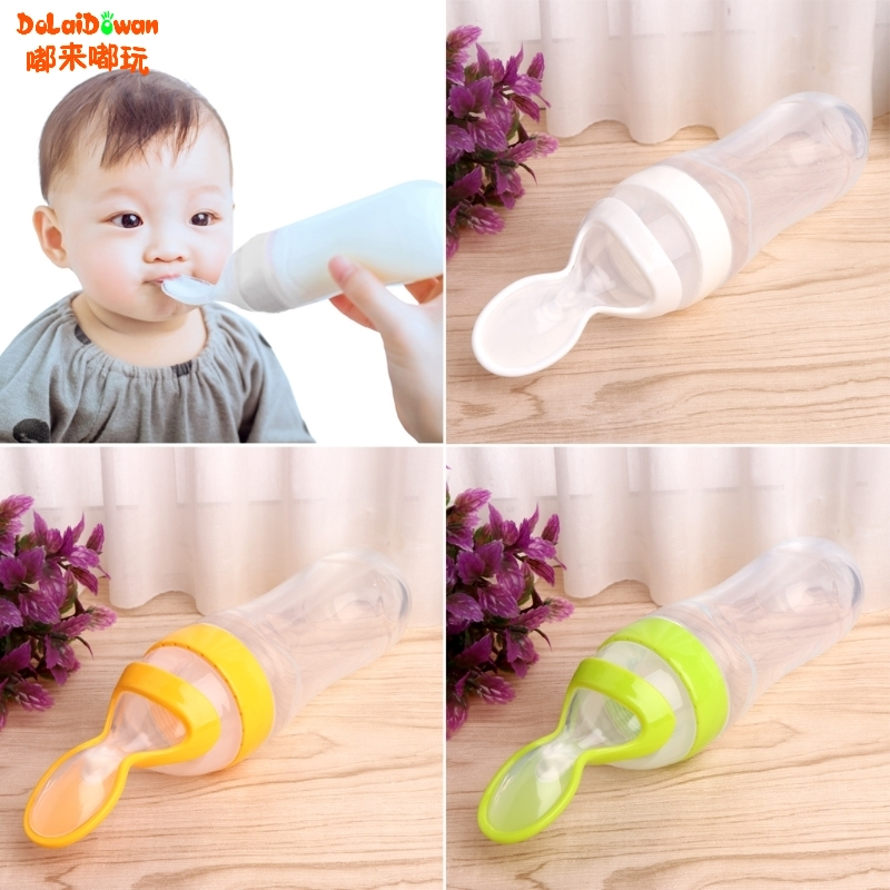 Infant Baby Silicone Feeding With Spoon Feeder Food Rice Cereal Bottle