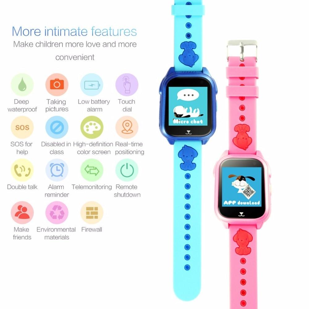 Deep Waterproof Children Watch 1.44-Inch HD Touch Screen SIM Card SOS GPS Locator Watch GPRS Real-time Positioning Wristwatch