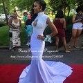 Branco sexy sereia vestidos de baile 2017 elegante gola alta apliques de cristal até o chão cetim stretch africano prom dress preto menina