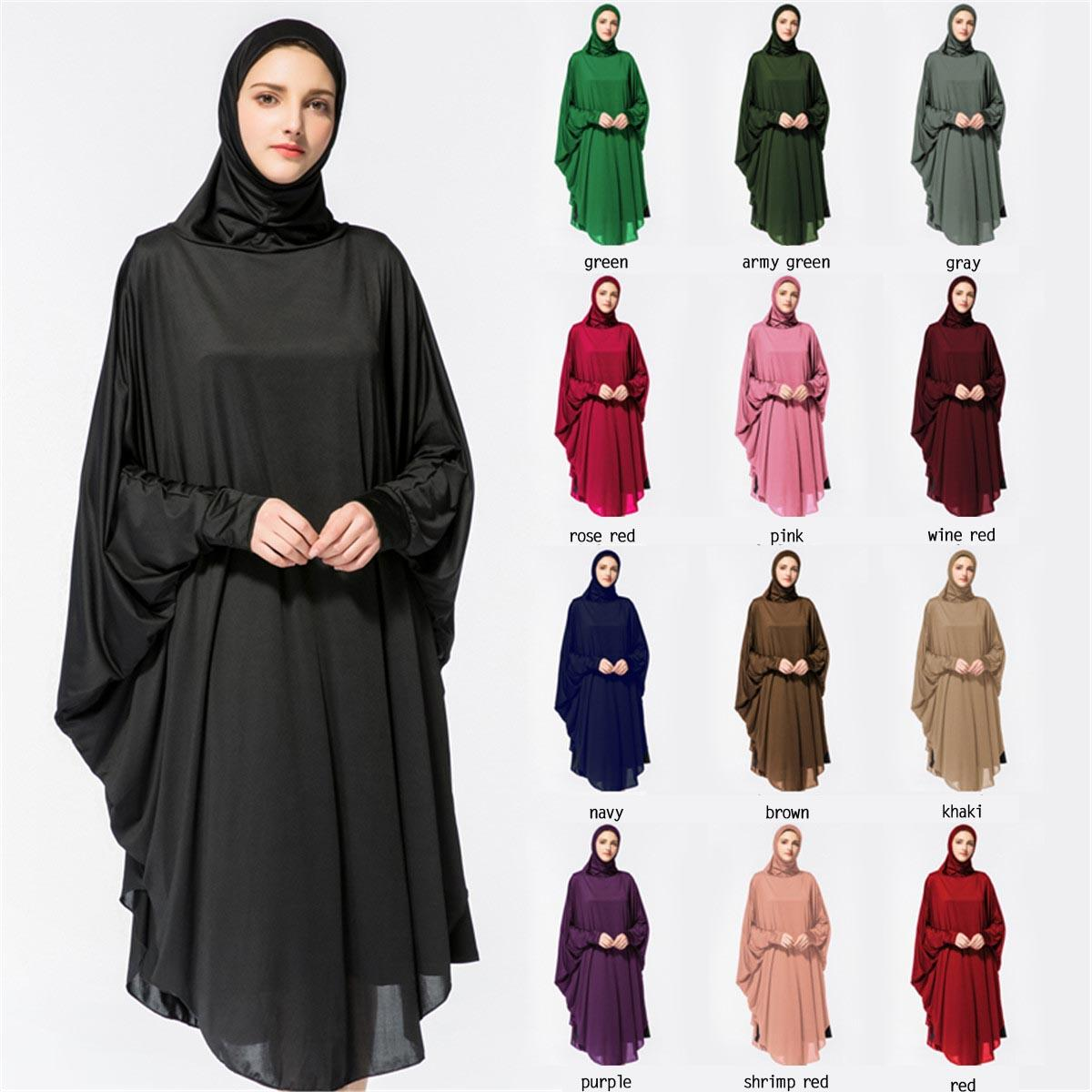 Women Muslim Hijab Abaya Prayer Dress Thobe Gown Bat Sleeve Middle East Robe Islamic Hooded Jilbab Khimar Kaftan Praying Abayas