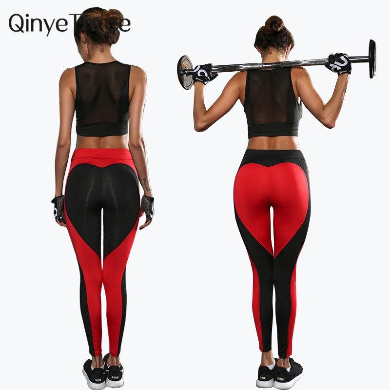 Heart pattern mesh splice legging harajuku athleisure fitness clothing sportswear elastic push up leggings women pants