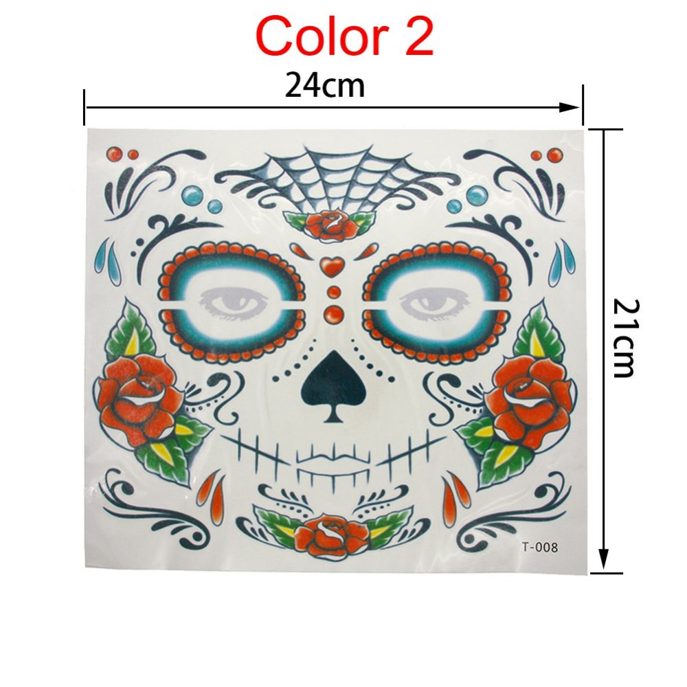 2PCS Waterproof Fake Temporary Tattoos Sticker Skull Face Mask ...