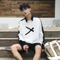 Big Size Shirt Men Casual Long Sleeve Dress Print Hip Hop Streetwear Mens Fashion Korean Shirts college White Patchwork Blouse 5