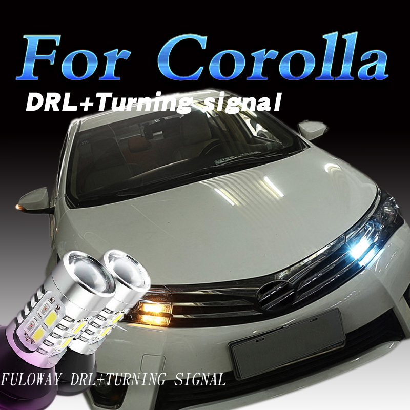 Car-styling For Toyota Corolla 2014 15 17 LED DRL Daytime Running Lights With Turning Signal External Day Light DRL Accessories car styling auto headlight headlamp for toyota corolla 2013 2014 2015 bifocal lens guiding light best quality daytime running