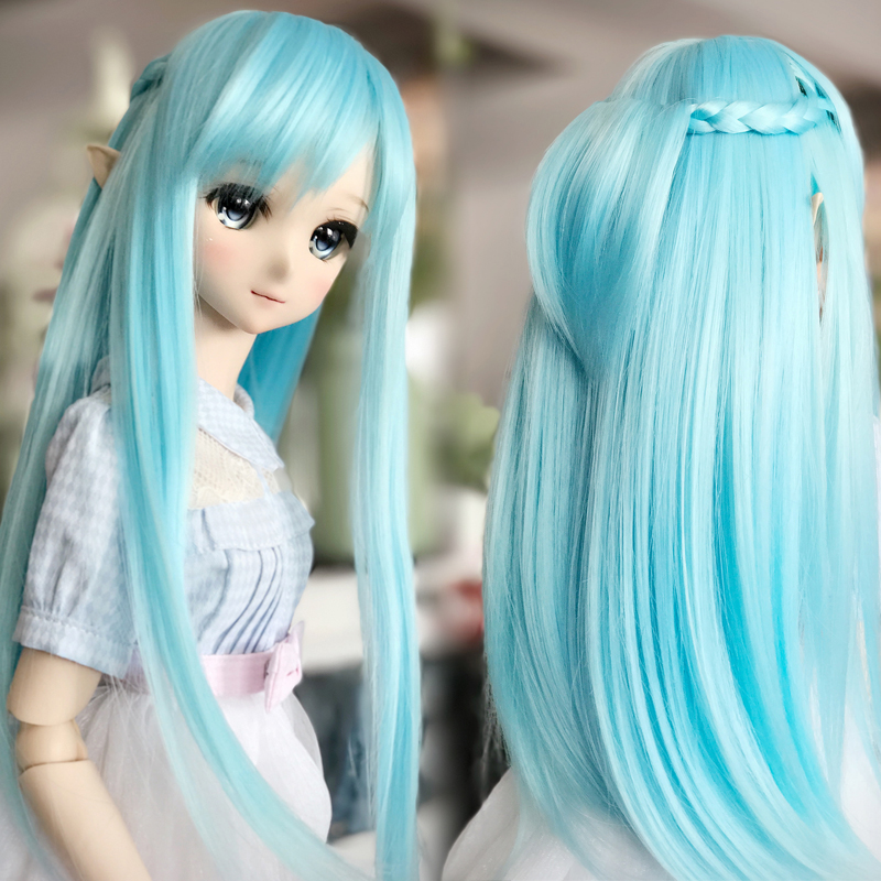 Cosplay 22-23cm Sword Art Online Yuuki Asuna Cos water blue wig 1/3 BJD SD DD Doll Wig стоимость