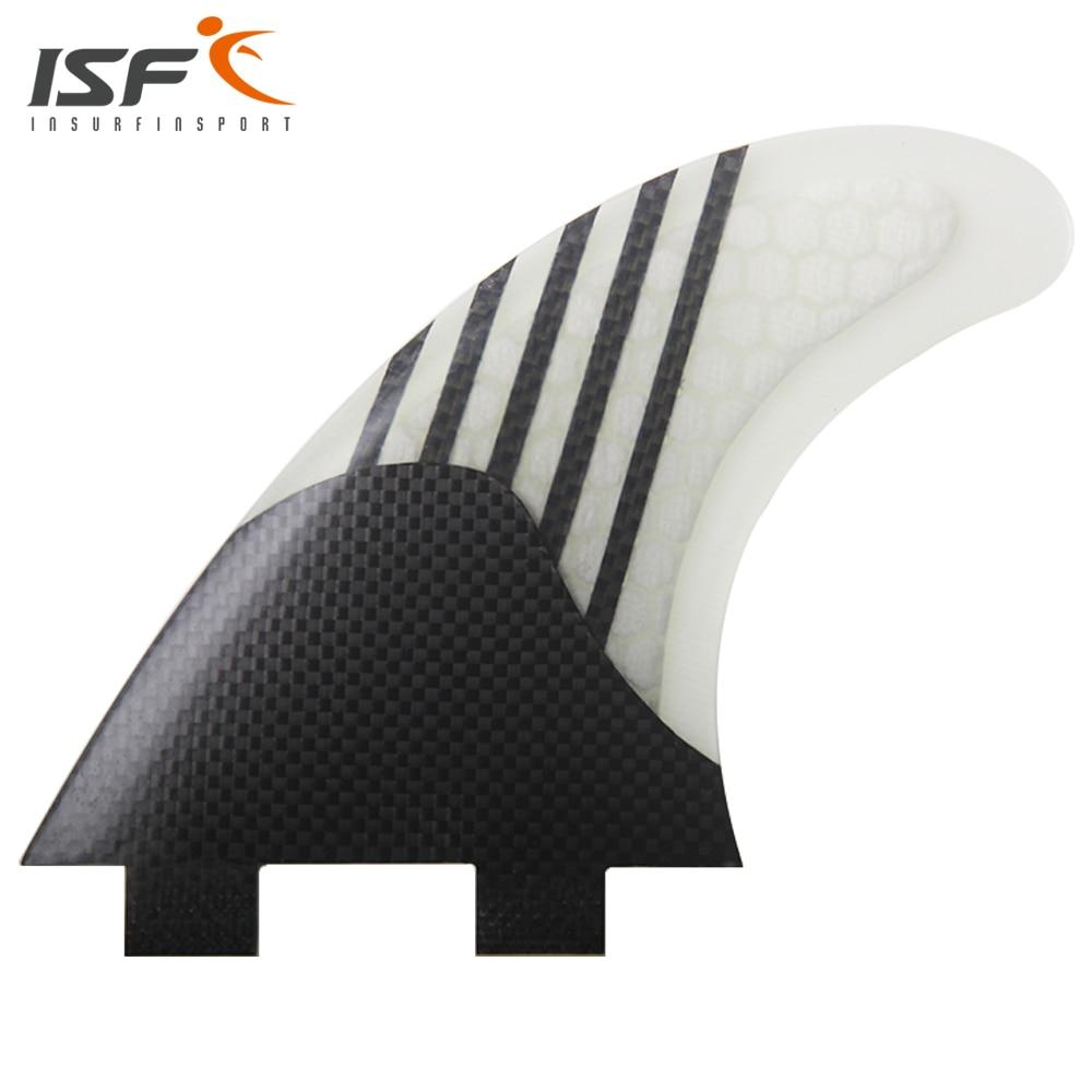 Insurfin Carbonfiber Surfboard FinsThruster Fin Set (3) FCS Compatible Medium Surf Fin insurfin surfboard fins quad fin set 4 pcs fcs base firm fiberglass honeycomb cool black sq surf fin