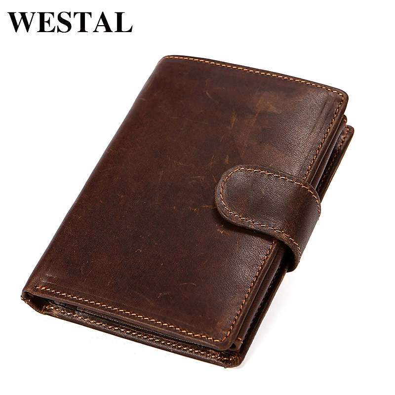 WESTAL RFID Wallet Male Genuine Leather Men's Wallet Vintage walet Male credit card holder Coin Purse Men Genuine Leather 8301 westal genuine leather wallet male clutch men wallets male leather wallet credit card holder multifunctional coin purse 3314