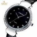 Kingsky ladies relógios top marca de luxo relógio de diamantes de couro pu strap analógico quartz relógio de pulso senhoras relógios relogio feminino