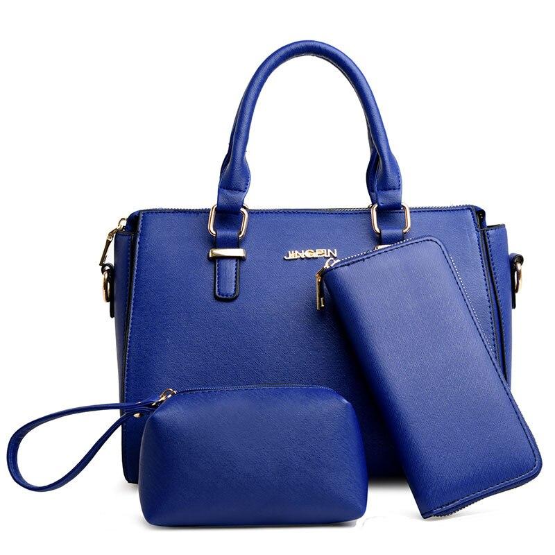 3 предмета в комплекте сумочка в комплекте для женщин, синий ярко-розовый Цвет Черный Серый цвет европейский и американский стиль сумки для …