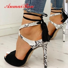 ANMAIRON 2019 Women Summer Fashion Super High  Womens Shoes Basic Party Lace-Up Fringe Heels Sandals Size 33-43 LY2023