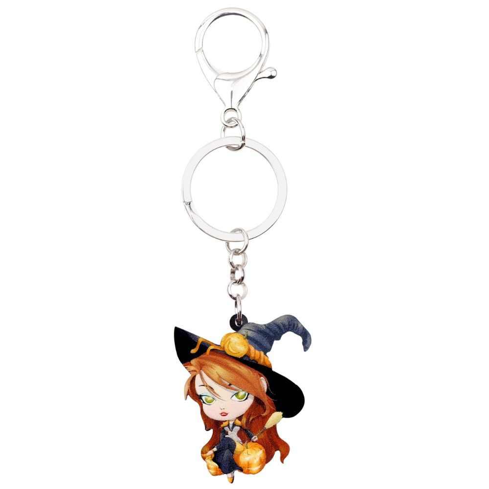 WEVENI acrylique Halloween Cartoon magique sorcière porte-clés pendentif porte-anneau bijoux pour femmes filles dames sac voiture charme