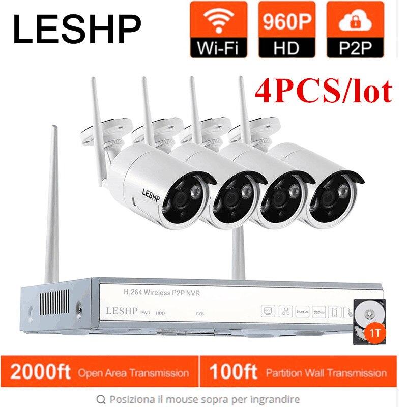 Système de caméra de sécurité sans fil LESHP 4CH 960 p enregistreur vidéo NVR 4x1.3 MP Wifi caméras IP réseau extérieur avec 1 T HDD