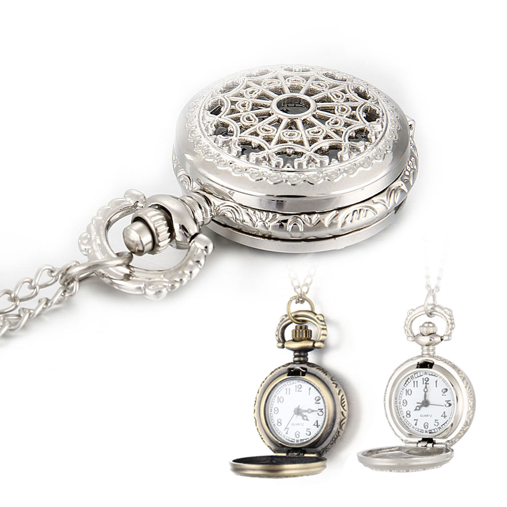 Men Pocket Watch Necklace Watch Retro Bronze Tone Round Shape Spider Web Pattern Hollow Watches With Chain Necklace Gift  LL@17