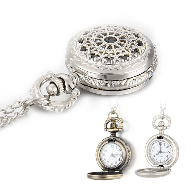 Men Pocket Watch Necklace Watch Retro Bronze Tone Round Shape Spider Web Pattern