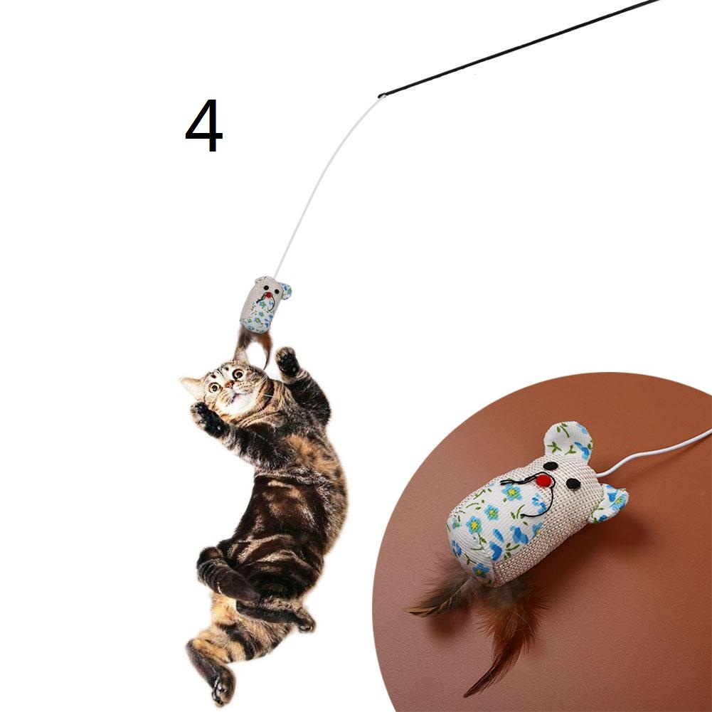 Feather Mouse Shape Teasing Cat Toy Pet Interactive Training Jumping Amusement