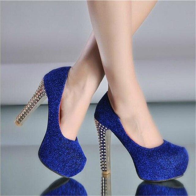 c830886fdf31 Wedding bridal 2016 designer women sexy royal blue round closed toe  platform high heels prom shoes plataforma zapatos de novia 1