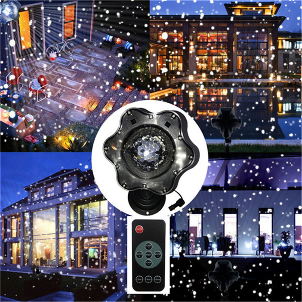 Upgrade Moving Snowfall Laser Projector Lamps Snowflakes Outdoor LED Stage Light For Christmas Party Landscape Garden zjright waterproof moving laser projector lamps snowflakes led stage christmas party garden outdoor floor indoor decor lighting