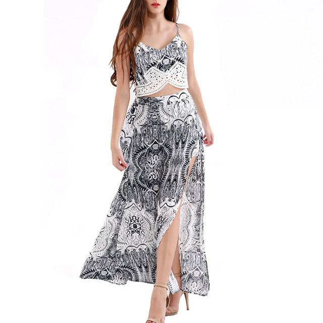 7288cb61d Retro Floral Crop Top And Skirt Set Lady Long African Skirt + Strappy  Cropped Top Two Piece Set Conjuntos Saia Longa Com Cropped