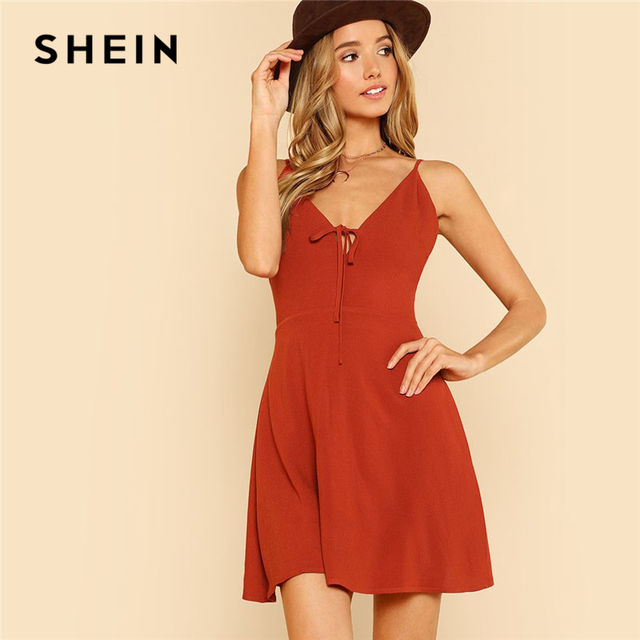 71c9b220f2b SHEIN Rust Tie Front Flowy Cami Dress Women V Neck