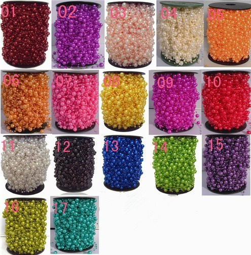 New 5 Meters/lot Fishing Line Artificial Pearls Beads Chain Garland Flowers Wedding Party Decoration Products Supply