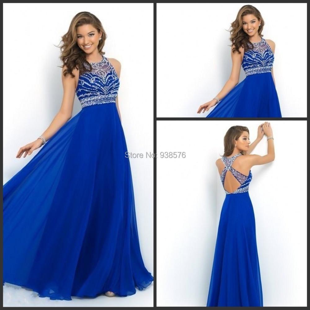 5e33c4240 Elegant Royal Blue Chiffon A-Line Prom Dress 2015 Halter Bandage Backless  Sparkly Beading Long Formal Party Dress New