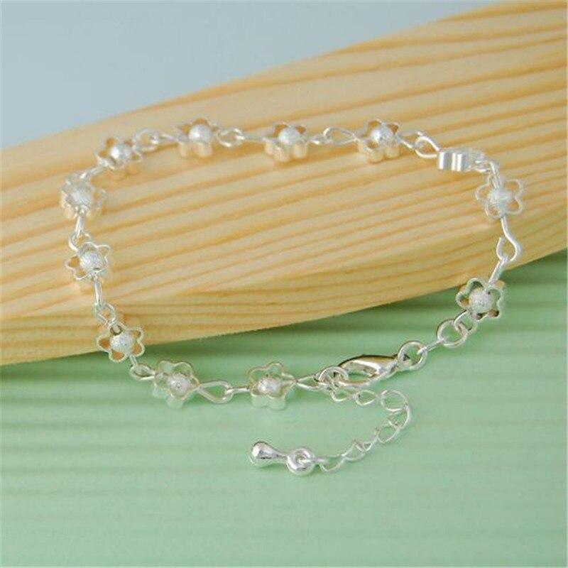 New Plum flower Hollow Summer Jewelry Women 925 Sterling Bracelets