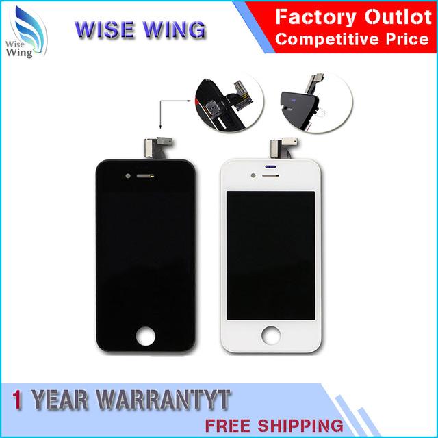 20/pcs screen display lcd para iphone 4s com tela sensível ao toque pantalla de qualidade peças de reposição black & white frete grátis