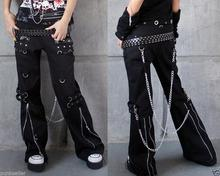 Women Punk Gothic female pants Trousers hip hop chain Rock Black E52