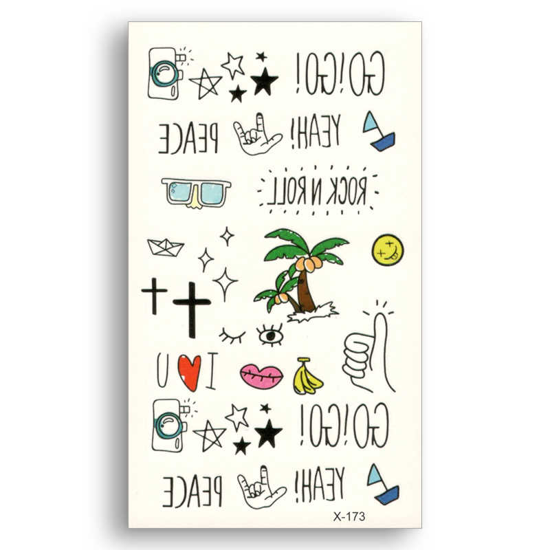 icons pattern Logo Water Transfer Fake tattoos Finger Waterproof Temporary tatoo Sticker Men Women Body Art Word Cute Kids