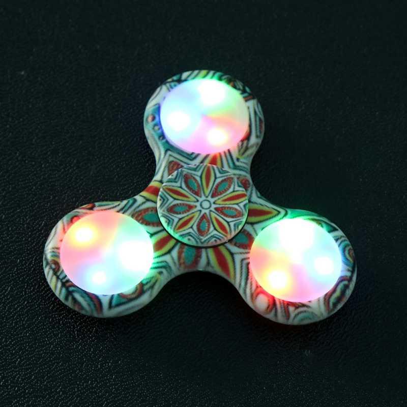 LED Light Hand Spinner Tri Fidget Flash EDC Finger Spinner For Autism...