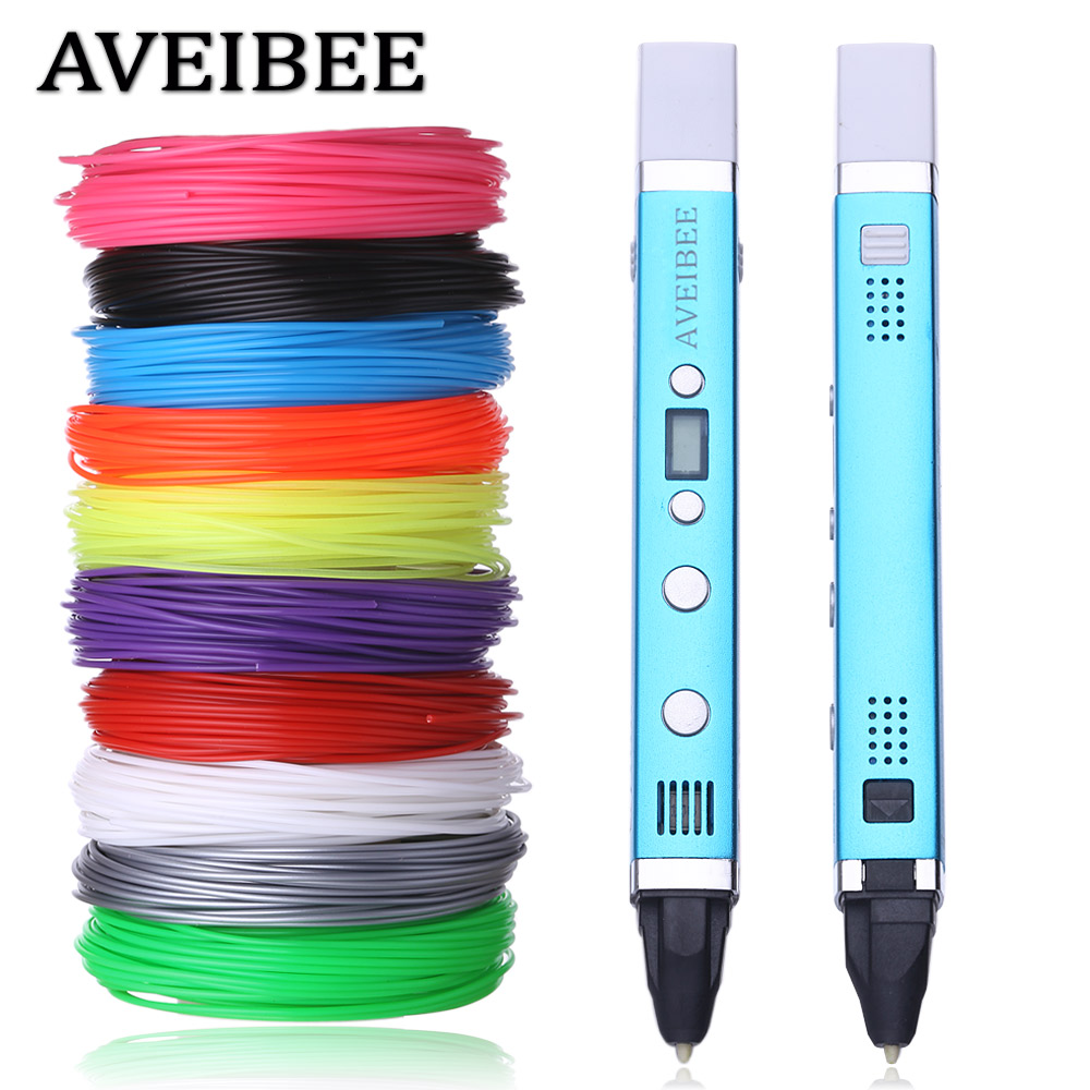 2018 New Magic Model 3D Printer Pen Drawing 3 D Pens With 100M 10 Color PLA Filaments Printing Pens For Birthday Gift new model 3d printer pen drawing 3 d pen with 100 meters 10 color pla filaments printing pens for kid best diy gift