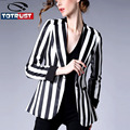 Womens Black And White Striped Blazer 2016 Fashion Autumn New European Formal Slim Small Suit Jacket feminino Women Plus size