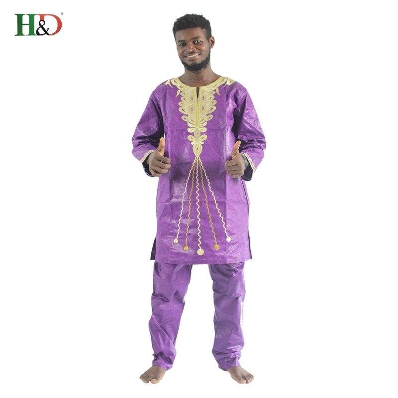H & D 2017 tradisjonelle afrikanske herreklær Nye motedesigner Bazin - Nasjonale klær - Bilde 2
