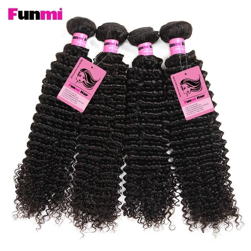 Funmi Raw Indian Kinky Curly Bundles med Closure 4 Bundles med - Barbershop - Foto 4