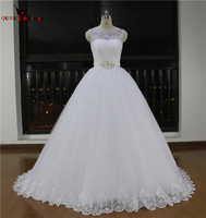 High Quality New Fashion 2018 Ball Gown Crystal Beading Tulle Real Photos Wedding Dresses Formal Bridal