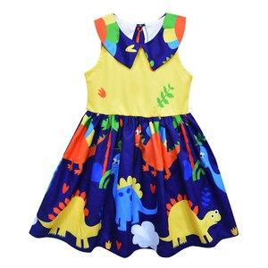Image 4 - Unicorn Floral Mickey Dinosar Fairy Princess Print Dress Snow White Jasmine Belle Elsa Printing Clothing Flying Sleeves Frocks