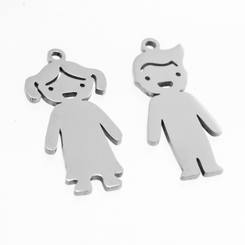 Family Cute boy girl charms lovely son daughter pendant Stainless steel personalized blank charm mirror polish