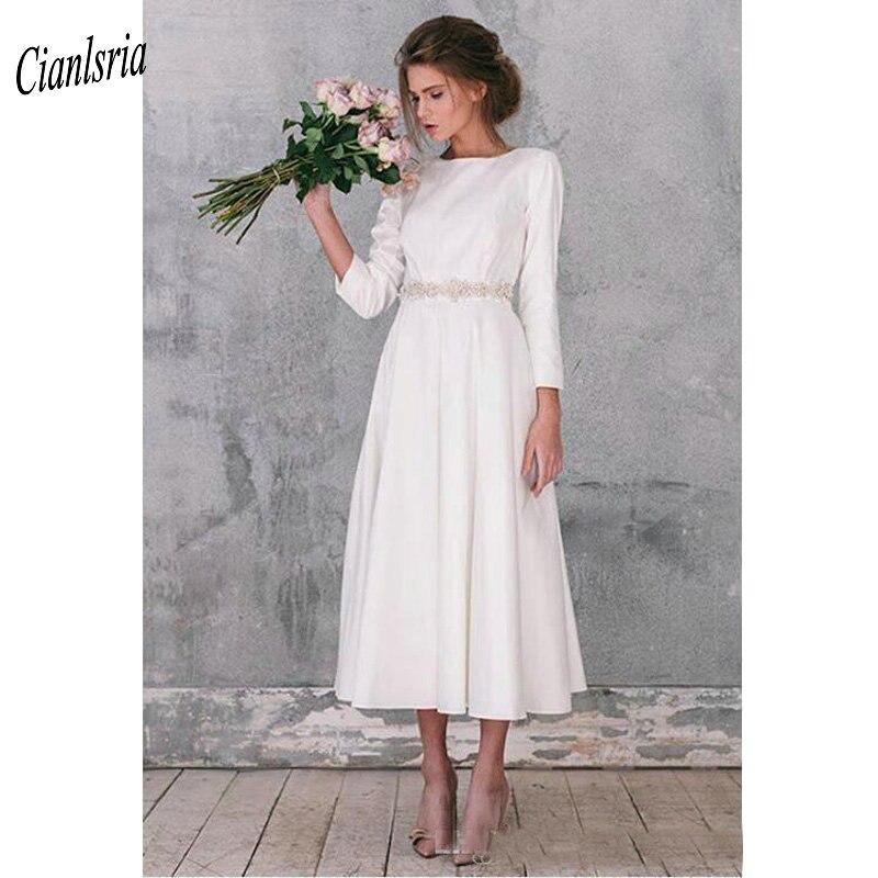 Modest 2019 Long Sleeve Short Wedding Dresses With Crystal Sashes Tea Length Gorgeous Simple Wedding Dress Robe De Mariage