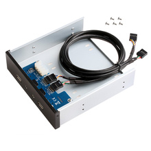 "5.25"" 9/10 Pin to 2 Port USB 2.0 HUB HD Audio PC Floppy Drive Bay Front Panel(China)"
