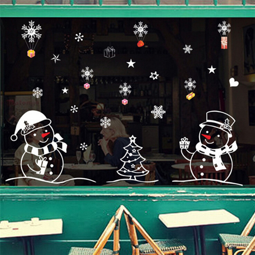 2019 New Year Wallpaper Window Glass Christmas Snowman Removable Home Vinyl Wall Stickers Decal Decor For Xmas Home Decal Nov#2