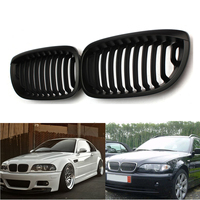 Car Racing Grills 2pcs Matte Black Front Kidney Grill for BMW E46 Facelift 3 SERIES 2D for COUPE CABRIOLET 2003 2004 2005 2006