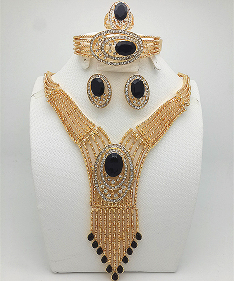 wholesale bridal gift nigerian wedding african beads jewelry set fashion dubai gold color jewelry set costume fo rwomen