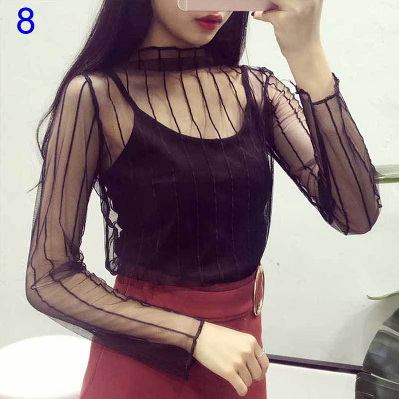 Newly Sexy Women Blouse See Through Transparent Mesh Long Sleeve Sheer Blouses Shirt Tops Tee BN99