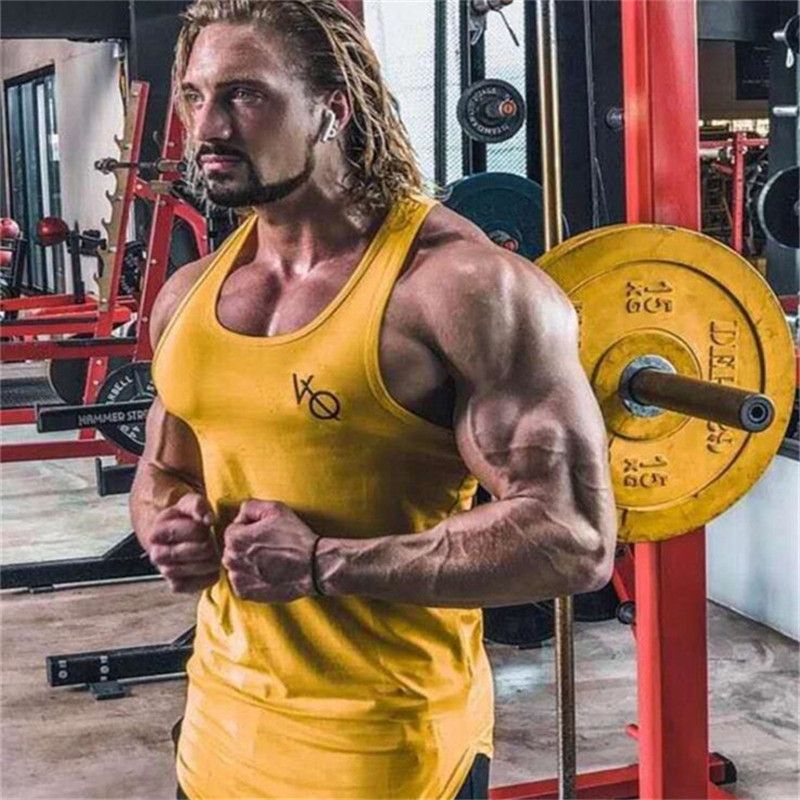 2019 new Mens Sleeveless Tank Tops Summer Print VQ Cotton Male Tank Tops Gyms Clothing Bodybuilding Undershirt Fitness Tank Tops