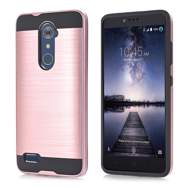 KPJLILI Dual Layer Protective Case for ZTE Zmax Pro Z981 Z988 Luxury Soft Rubber Silicone Hard Plastic Hybrid Slim Back Cover