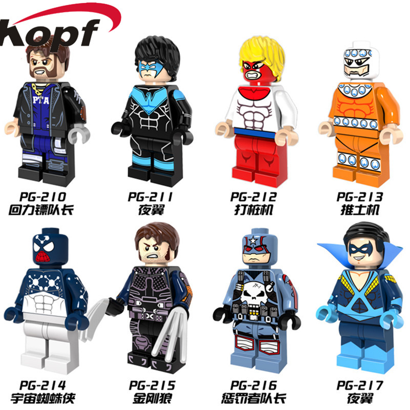 Super Heroes Captain Boomerang X Force Wolverine Piledriver Classic Nightwing Building Blocks Children Gift Toys PG8058 building blocks super heroes back to the future doc brown and marty mcfly with skateboard wolverine toys for children gift kf197