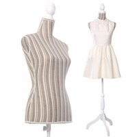 Goplus Female Mannequin Torso Dress Form Display W/ White Tripod Stand New HW50080GR