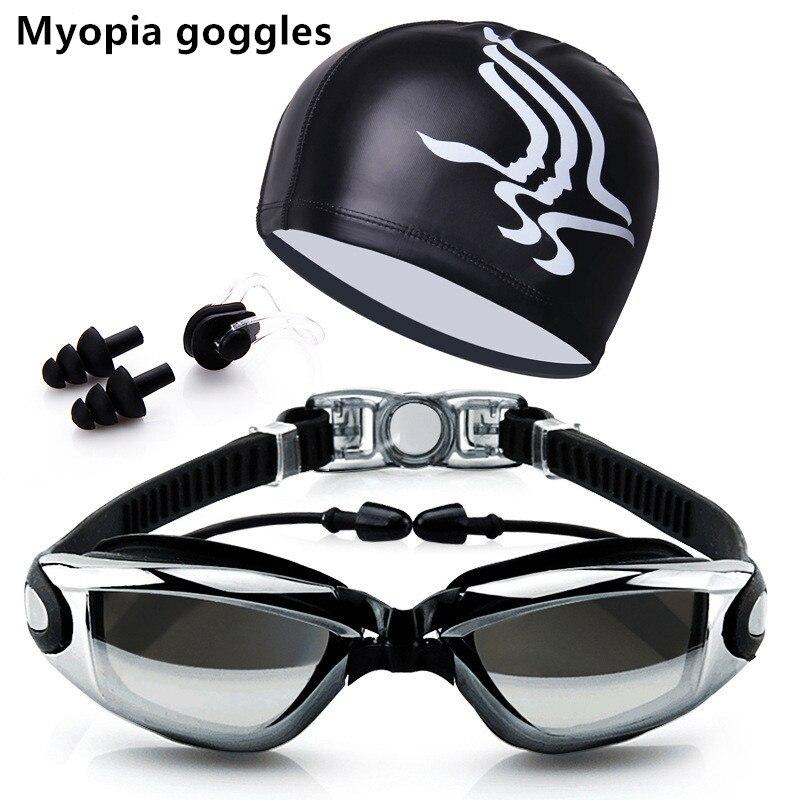 Myopia Swim Goggles With Hat and Ear Plug Nose Clip Suit Waterproof Swim Glasses anti-fog Professional Sport Swim Eyewear Suit