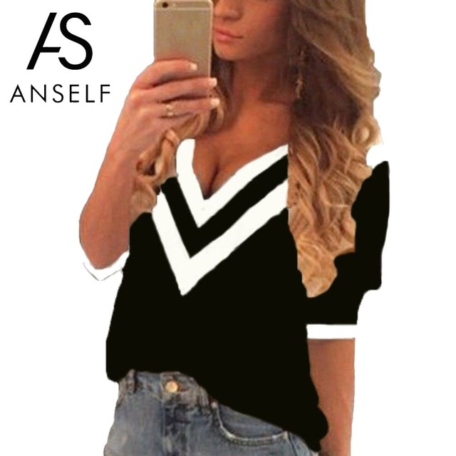 2d52641072312 Anself Women Deep V Neck Blouses 3 4 Sleeves Color Block Striped 5XL Plus  Size Shirt Top Sexy Loose Casual Blusas Pullover Top